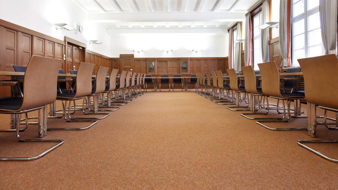 Maria-Lenssen-Berufskolleg Mönchengladbach Detailaufnahme Nadelvliesboden im Lehrerzimmer – Forbo Nadelvlies Forte