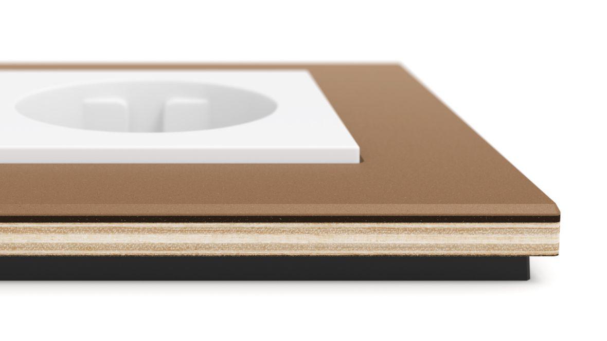 """Gira Schalterserie """"Esprit"""" Close-up Steckdosenrahmen mit Oberflächenlinoleum – Furniture Linoleum"""