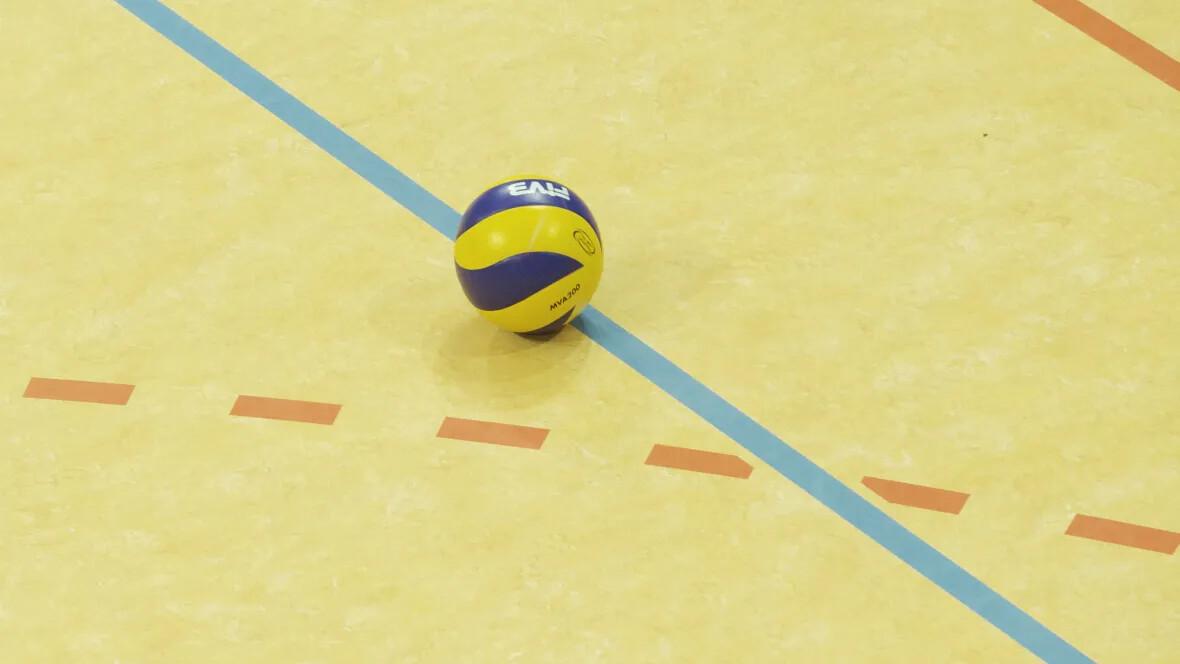 Sporthalle Lamprechtsgrund Schwerin Ball auf Hallenboden – Forbo Marmoleum Sport