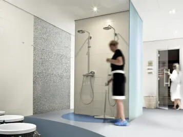 Forbo offers a complete wetroom solution with it's Onyx wall coverings and Step safety flooring