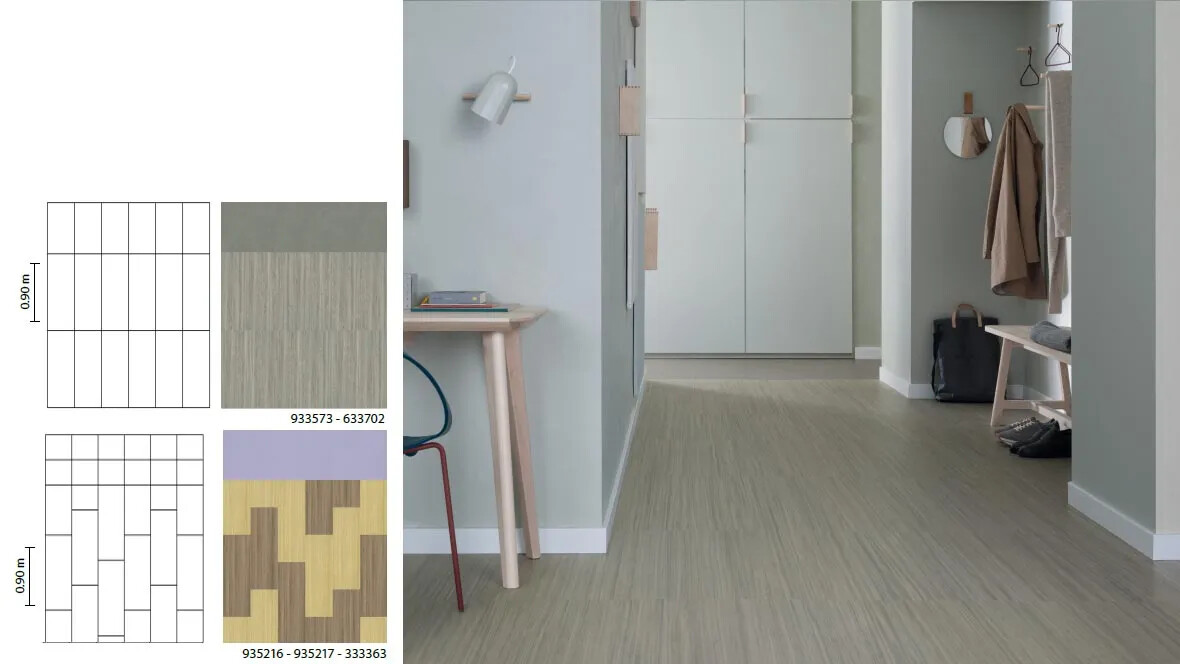 Marmoleum Click grids hallway