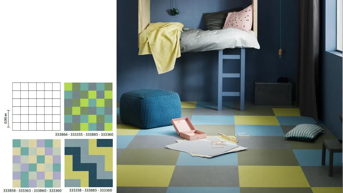 Marmoleum Click grid children's bedroom