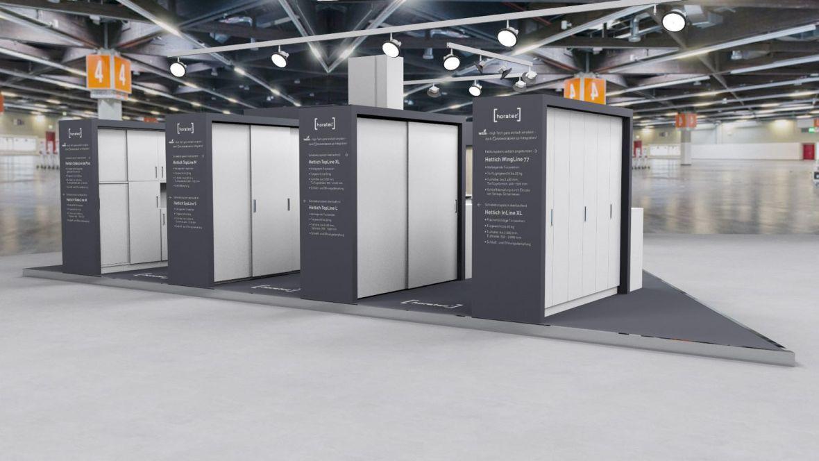 Messestand Horatec/Handwerker Börse/Forbo Holzhandwerk Nürnberg Schränke auf Ausstellungsfläche – Forbo Furniture Linoleum