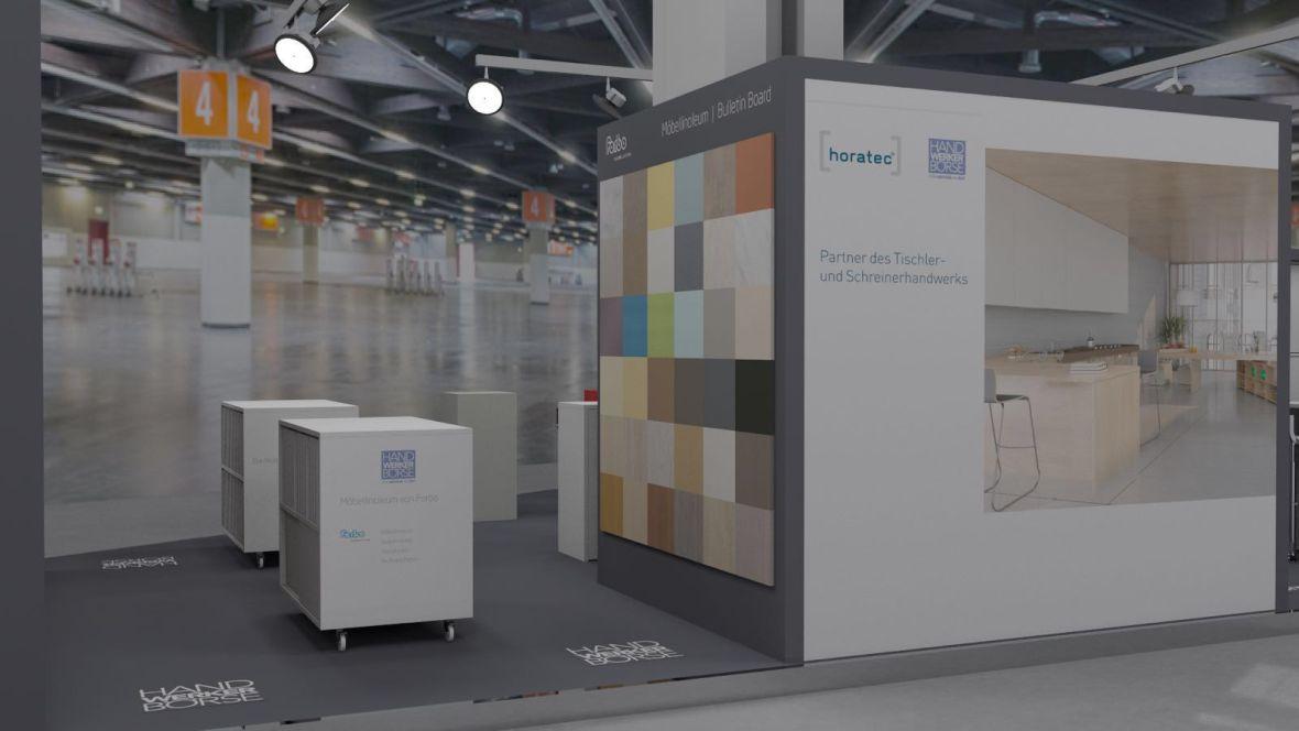 Messestand Horatec/Handwerker Börse/Forbo Holzhandwerk Nürnberg Wand mit Materialproben – Forbo Furniture Linoleum