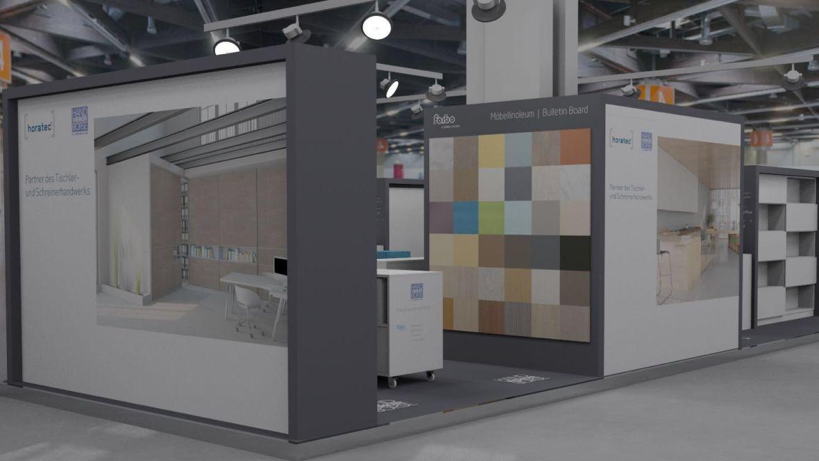 Messestand Horatec/Handwerker Börse/Forbo Holzhandwerk Nürnberg Produktauswahl an Wand präsentiert – Forbo Furniture Linoleum