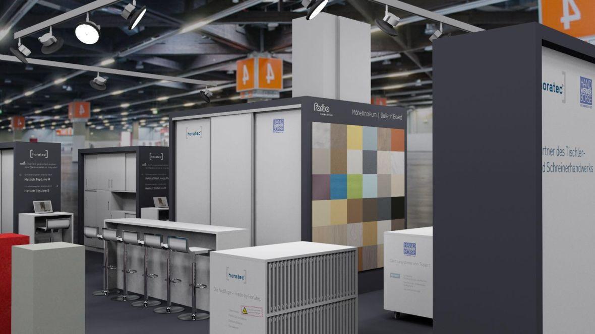 Messestand Horatec/Handwerker Börse/Forbo Holzhandwerk Nürnberg Blick auf den Stand – Forbo Furniture Linoleum