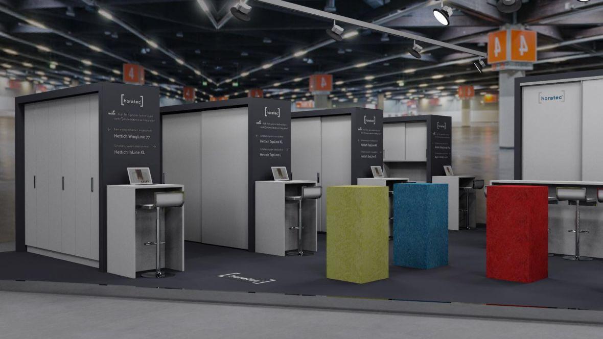 Messestand Horatec/Handwerker Börse/Forbo Holzhandwerk Nürnberg farbig verkleidete Würfel – Forbo Furniture Linoleum