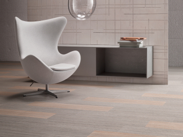 Marmoleum flooring in tiles and planks made from natural, renewable raw materials