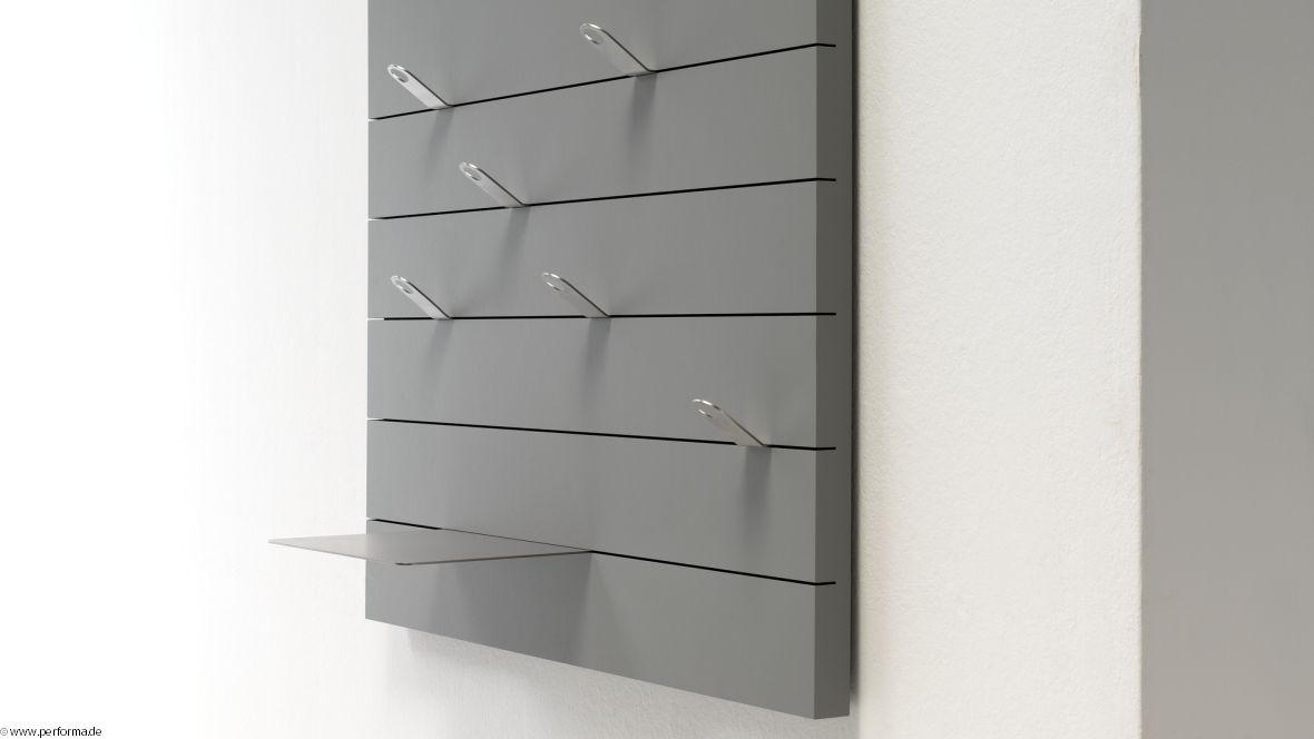Möbelkollektion Performa Graue Garderobe mit Metallelementen – Forbo Furniture Linoleum