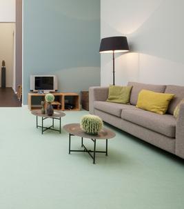 Groene Marmoleum vloer in huiskamer Forbo Expo