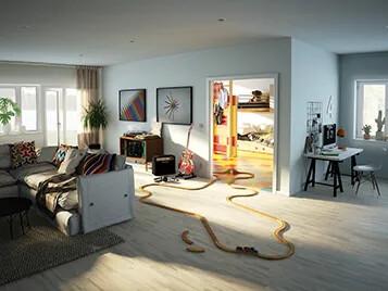 Forbo Parkett och Marmoleum Click i vardagsrum och barnrum 357x268