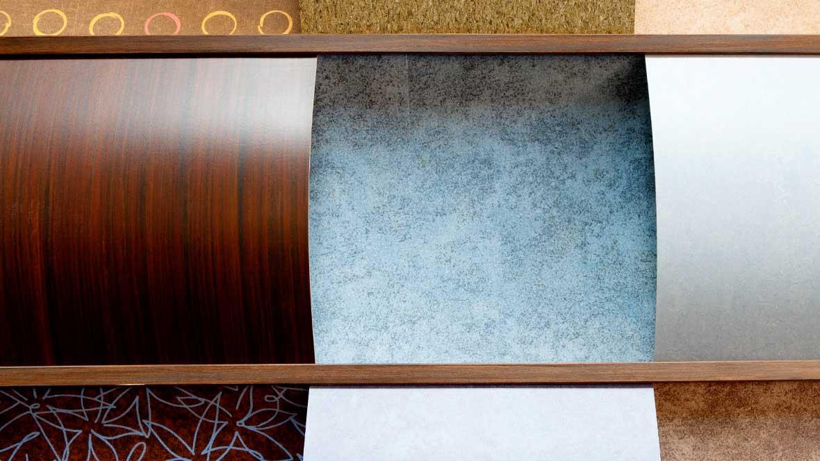 Samples of various Forbo linoleum floor coverings.