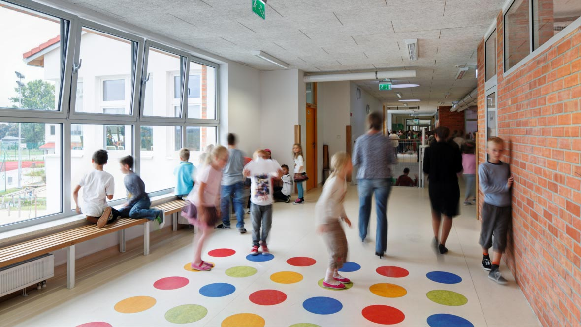 school - marmoleum flooring