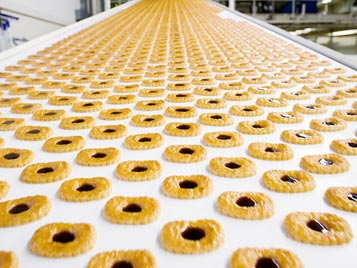 Food: Production of cookies with Forbo Siegling Transilon conveyor belts.