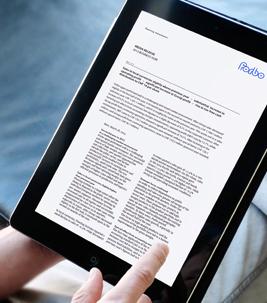 Tablet mit Forbo Medienmitteilung auf Bildschirm.