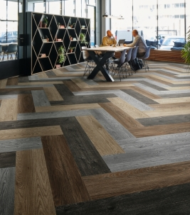 Wood Textile Modular Planks - Easy and quick Installation flooring