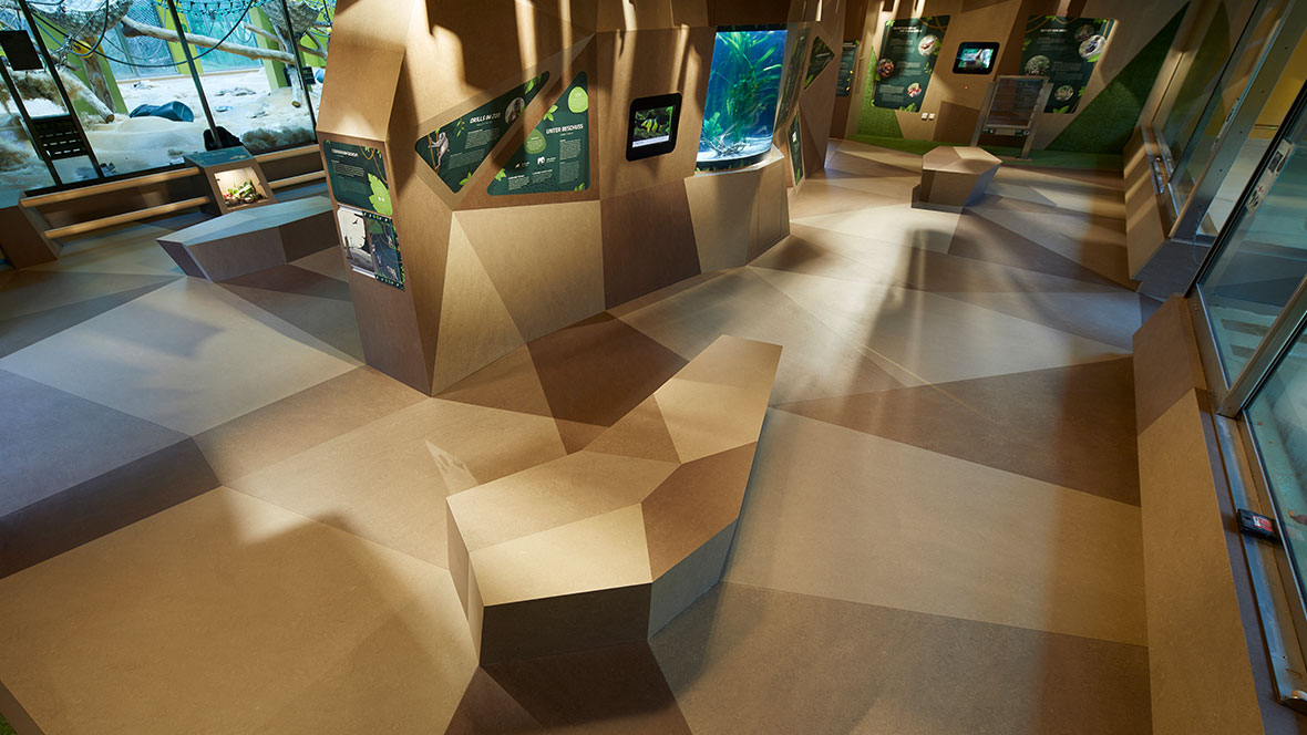 Tierpark Hellabrunn München Kreative Bodengestaltung - Forbo Marmoleum Fresco