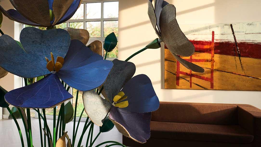 Flachsblumen aus Linoleum
