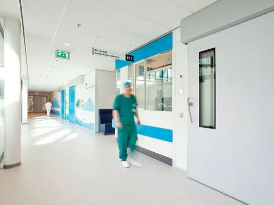 Natural linoleum flooring for hospitals