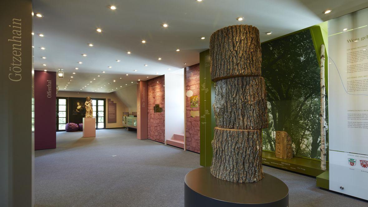 Heimatmuseum Dreieich Exponat von Baumstämmen auf Textilboden – Forbo Flotex Metro