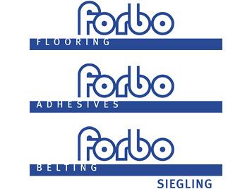 Übersicht Forbo Dachmarken Strategie mit Flooring, Adhesives und Belting.