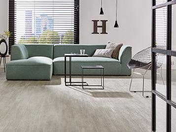 Private living area using vinyl flooring