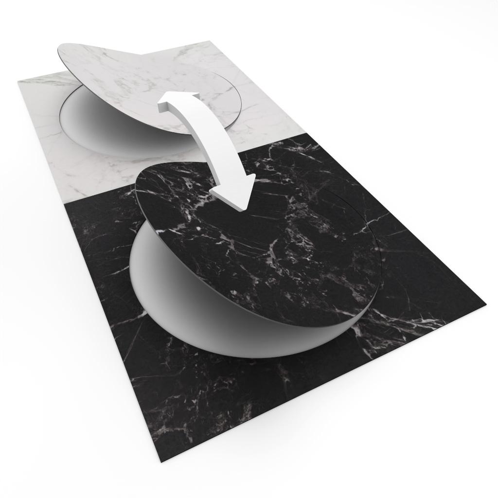 Allura Circle swop 63550 white marble | 63544 black marble