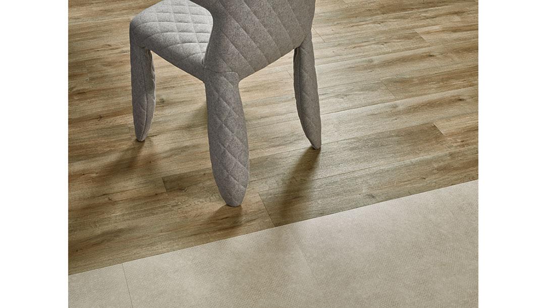 Allura Decibel 8IM03 mortar imprint concrete | 8WHA03 golden harvest oak