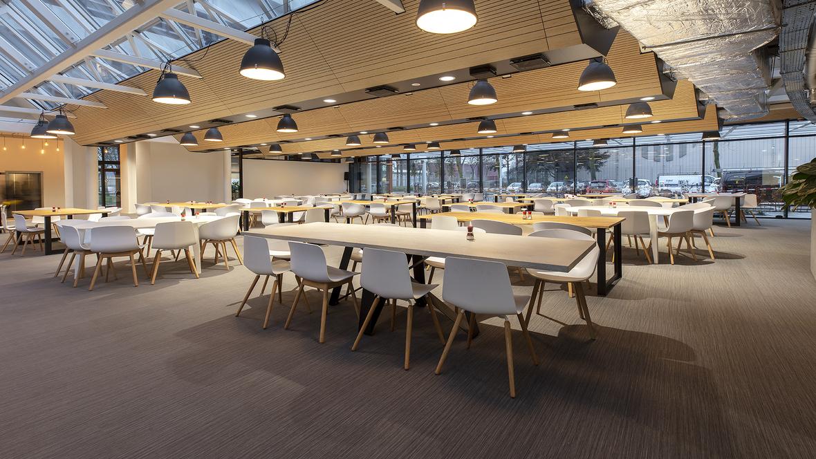 Flotex houtlook vloer in combinatie met grijs gestreepte Flotex vloerbedekking in bedrijfsrestaurant Stedin, Delft