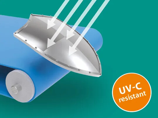UVC-resistant conveyor belts