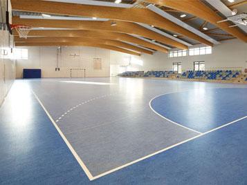 Sporthalle mit blauem Linoleum