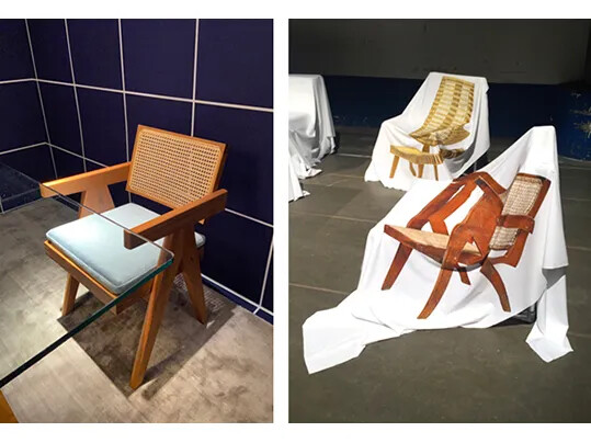Left: Project Chandigarh armchair | Right: Digitally printed fabric designed by Boris Brucher