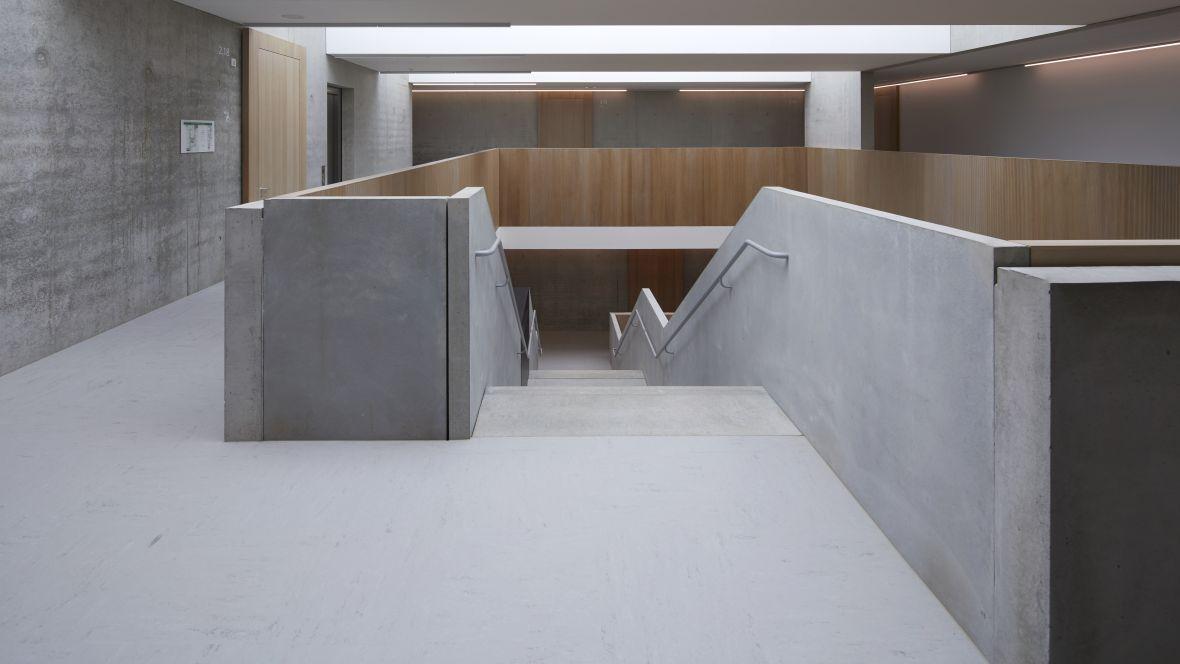 Gemeinschaftsschule Blaubeuren Treppenabgang – Forbo Linoleum Modular