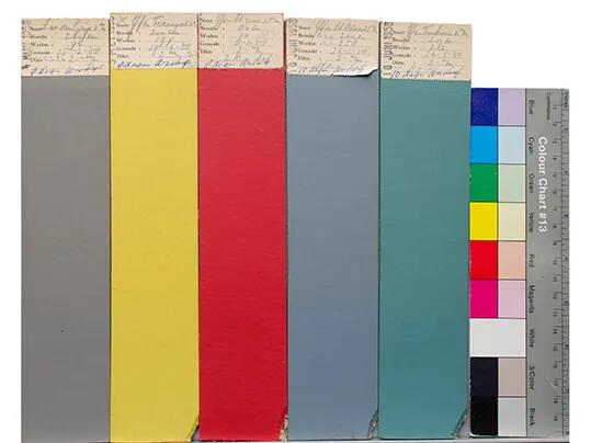 Linoleum produktion farveprøver fra 1958, Forbo Arkiv Assendelft, foto Santje Pander