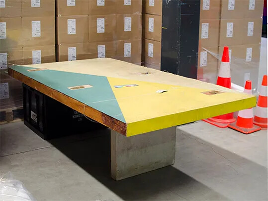 Salvaged table from the UNESCO Press Room, stored at the RCE, photo Dutch Cultural Heritage Agency