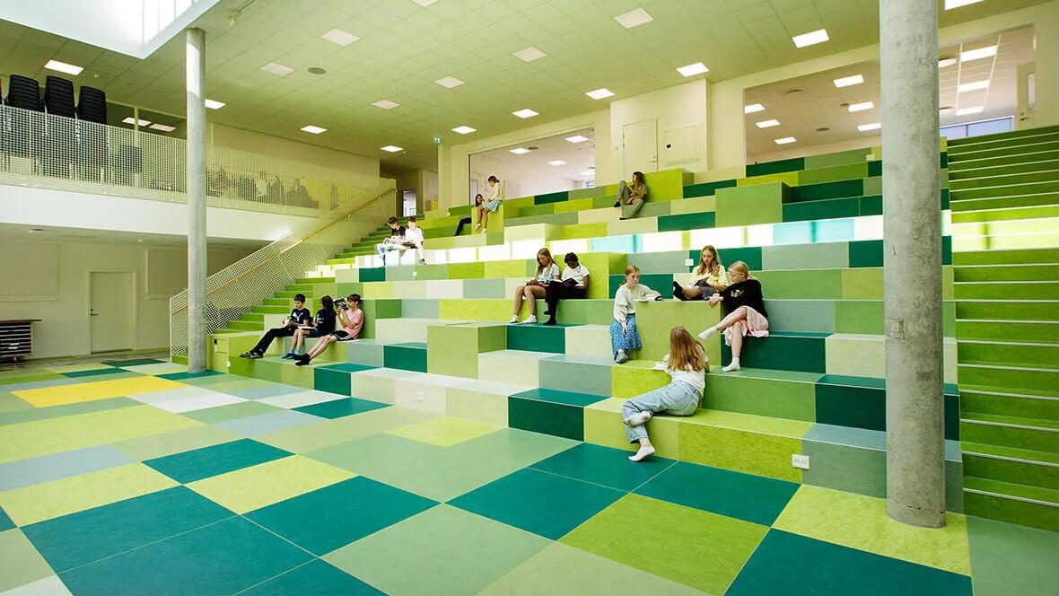 Marmoleum på Dalby-skolan i Danmark