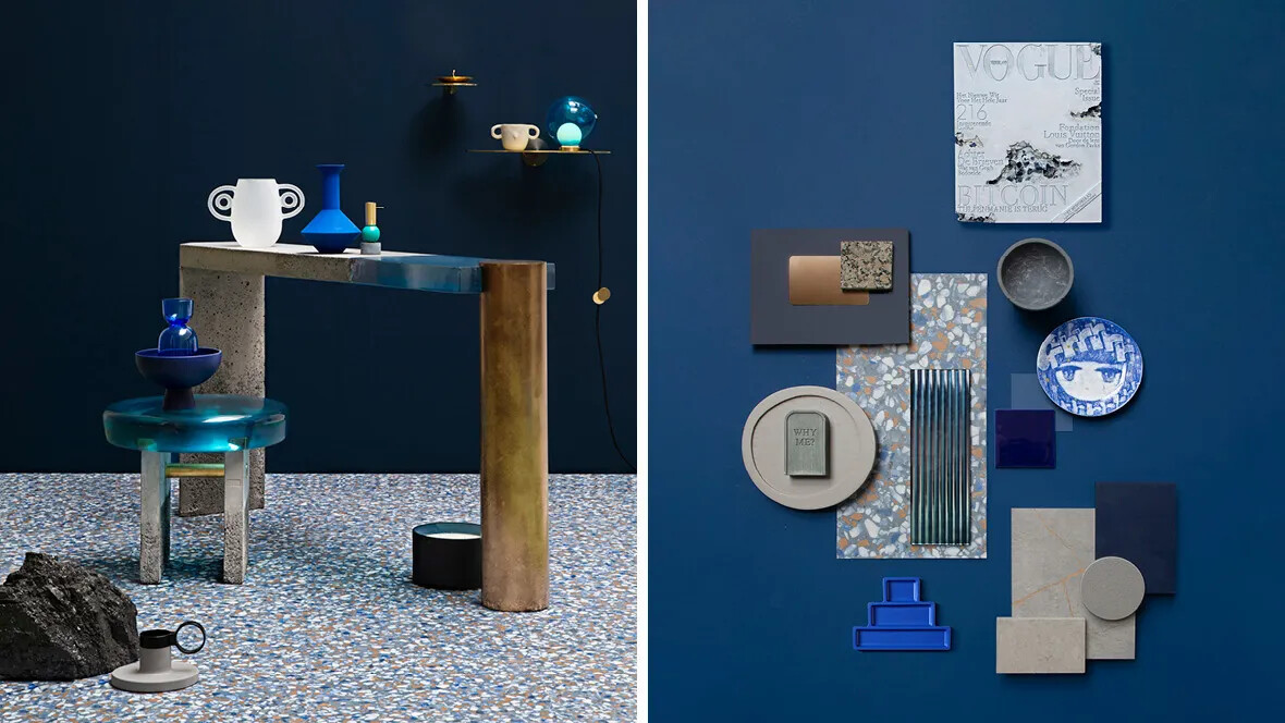 Trend 2021 Allura vinyl blue terrazzo-moodboard