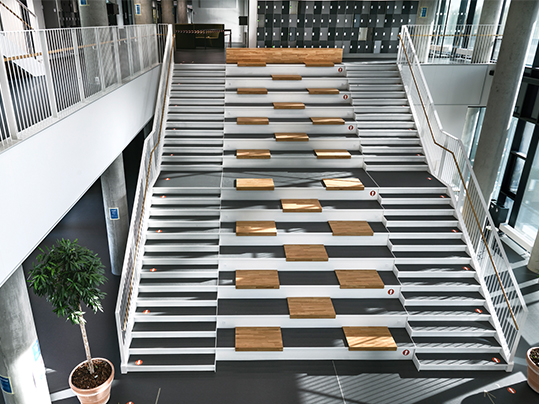 Vestskoven high school Piano 3607 atrium stair