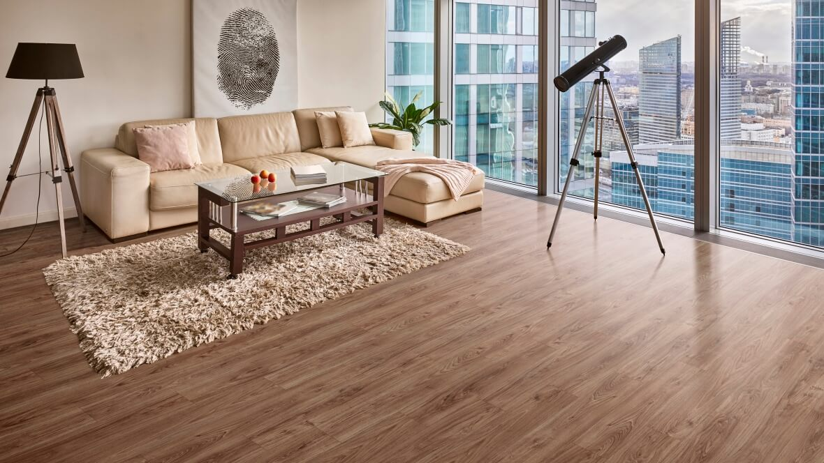 Allura Decibel Warm Authentic Oak in living area