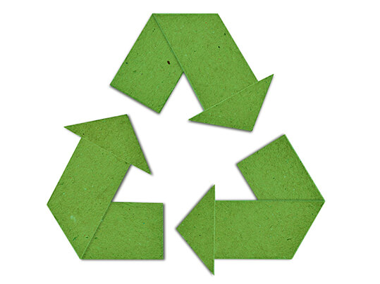 Recycle symbol green paper