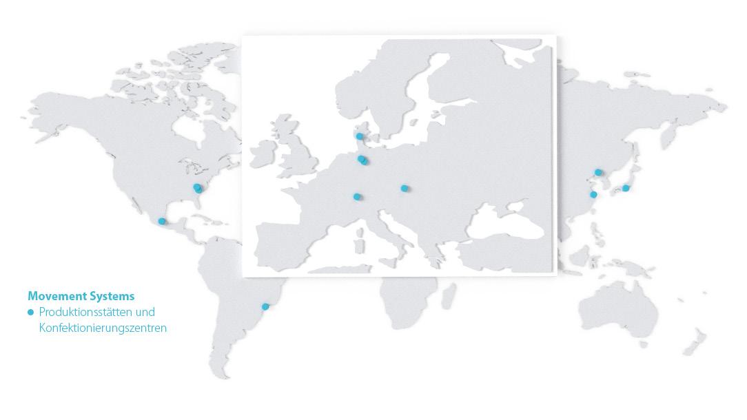 Weltkarte mit den eingezeichneten Standorten von Forbo Movement Systems 2020.