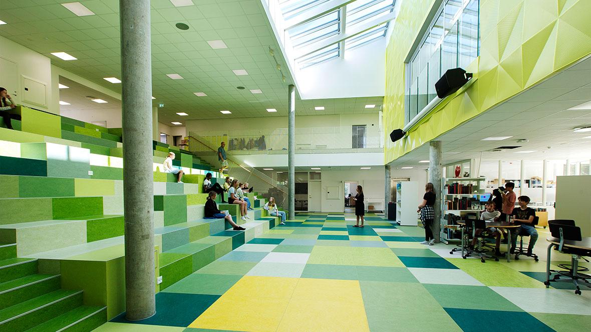 Dalby School stairway_Marmoleum Marbled