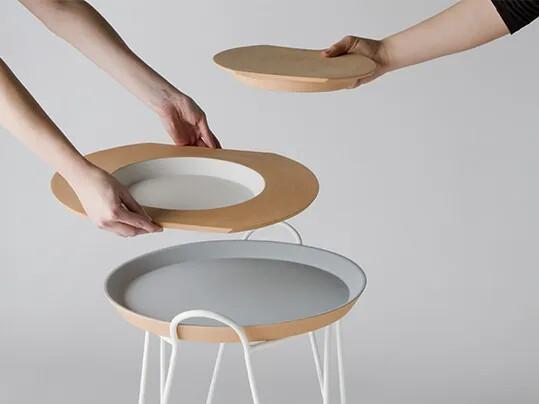 Line terracotta side table design by Francesca Sciarmella Sciarmella