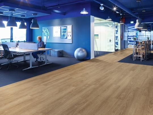 Allura Ease adhesive free planks alongside Tessera carpet tiles
