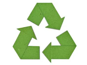 Grön återvinningssymbol papper