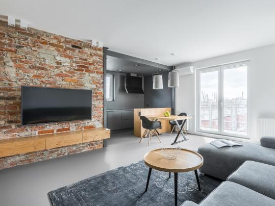 Marmoleum Solid 3369 titanium in open plan living area