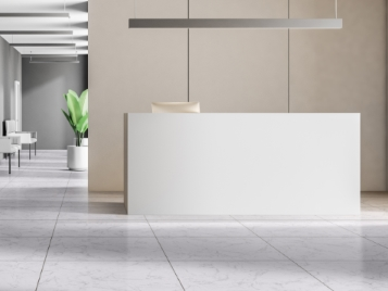 Allura Material White Marble with Gold Strips in Reception