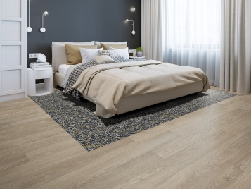 Allura Wood 63414 light timber and Flotex Starck vortex gold in bedroom