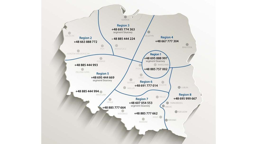 Mapka - sieć sprzedaży Forbo