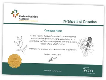 Certificate of Donation - Carbon Positive Australia x Forbo Flooring Systems